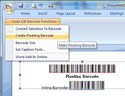 Word Barcode Add in