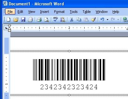 Free Barcode Font - Interleaved 2 of 5 Word Barcode Add In